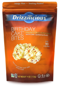 Drizzilicious Birthday Cake Bites  4oz Front of Bag - Birthday Cake Drizzled Rice Cakes - Chocolate Drizzled Rice Cakes
