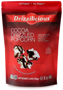Drizzilicious Cocoa Drizzled Popcorn Front of Bag - Chocolate Drizzled Popcorn