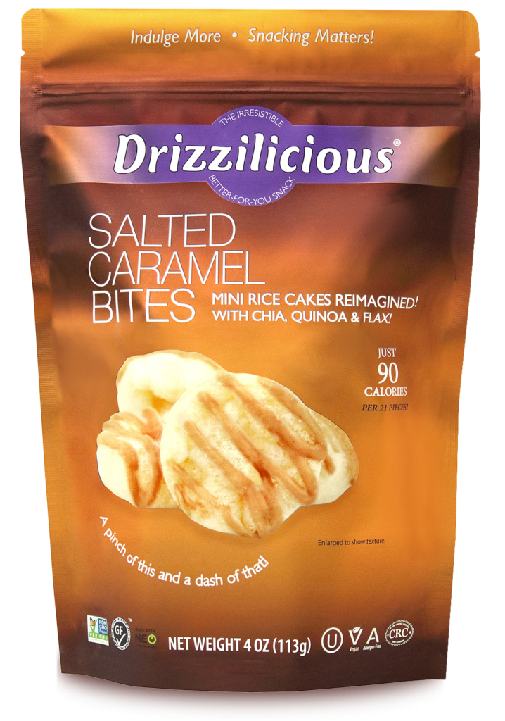 Drizzilicious Salted Caramel Bites 4oz Front of Bag - Salted Caramel Drizzled Rice Cakes - Chocolate Drizzled Rice Cakes
