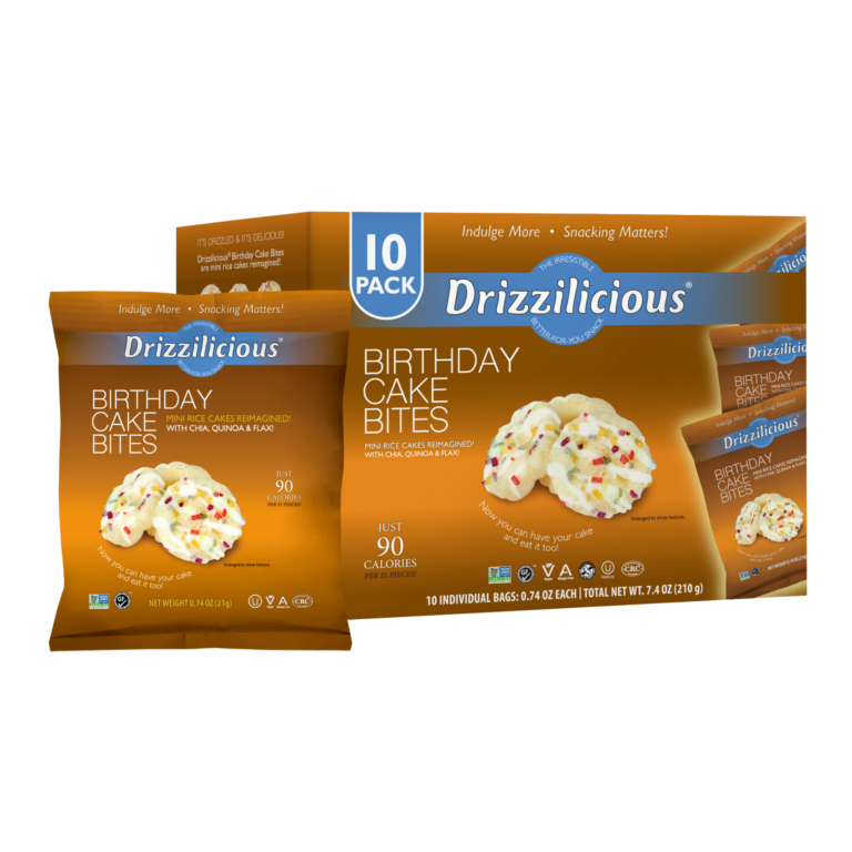 drizzilicious birthday cake drizzled rice cake 10 pack box