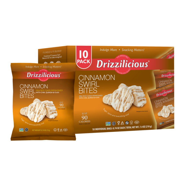 drizzilicious cinnamon swirl drizzled rice cake 10 pack box