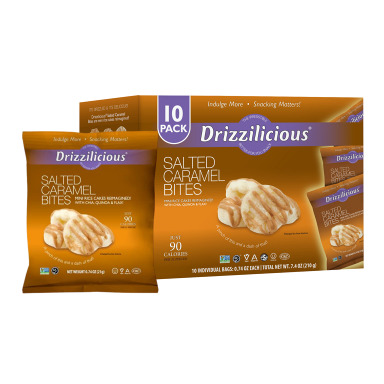 drizzilicious salted caramel drizzled rice cake 10 pack box
